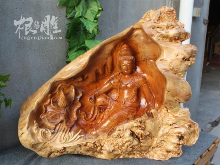 红豆杉树瘤木雕自在观音