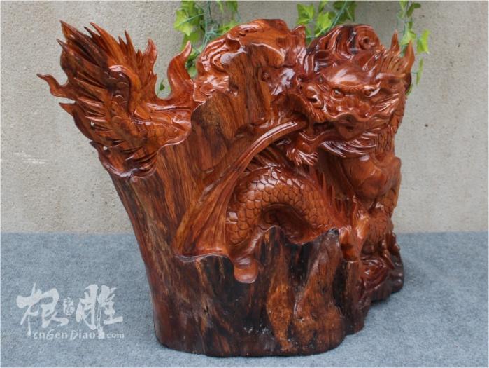 根雕图片-老挝花梨木雕吉祥龙