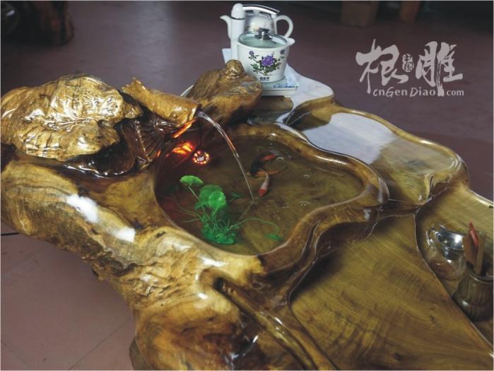 高端根雕茶几-金丝楠木(养鱼)