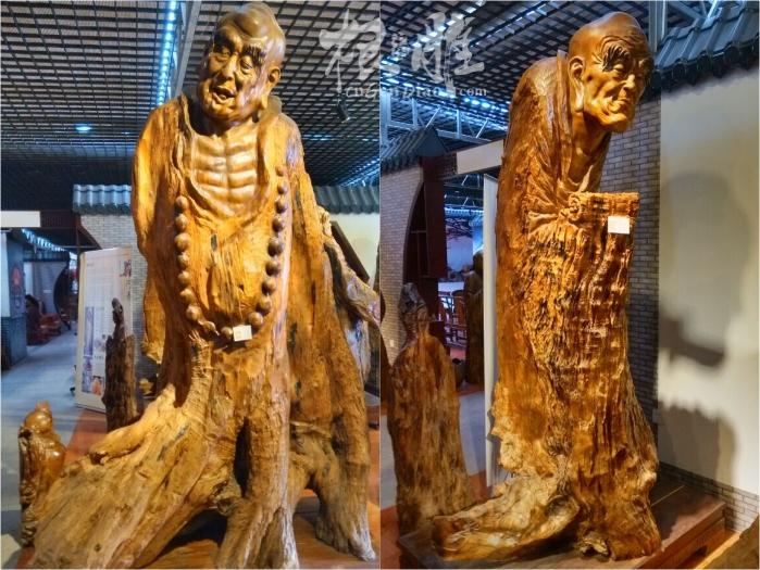 十八罗汉-最大的楠木根雕