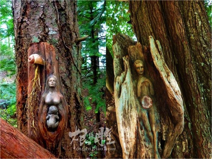 大自然里的根雕女人