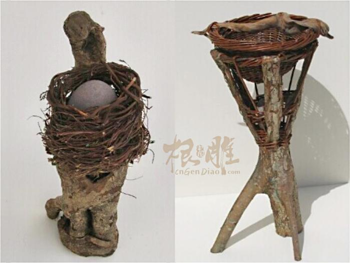 编织的木根雕艺术品70