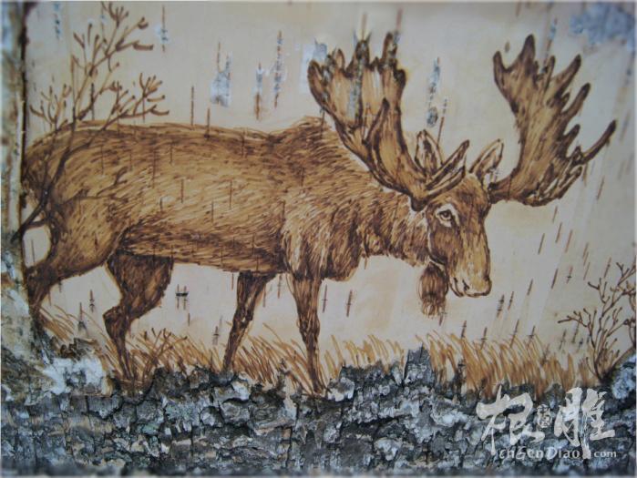 """创意木根雕装饰品欣赏""""驼鹿"""""""