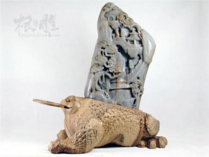 """""""金蟾载玉""""雕刻制作过程-中国根雕"""