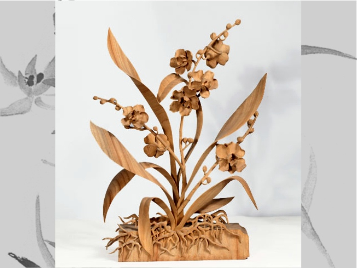 精品木根雕兰花作品欣赏