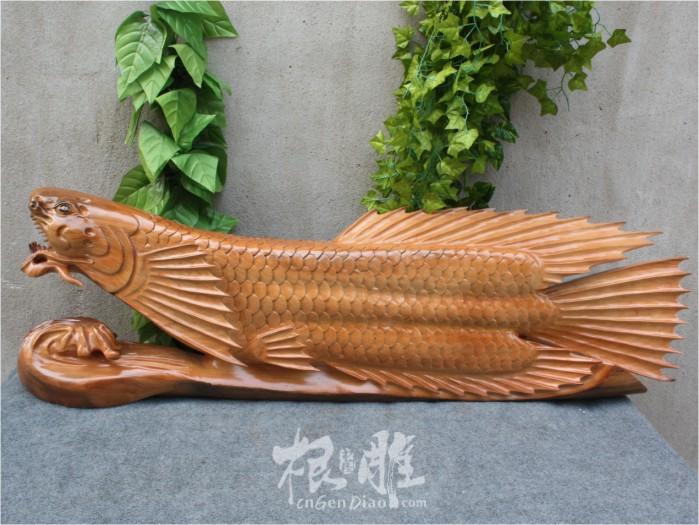 根雕图片-香樟木雕金龙鱼