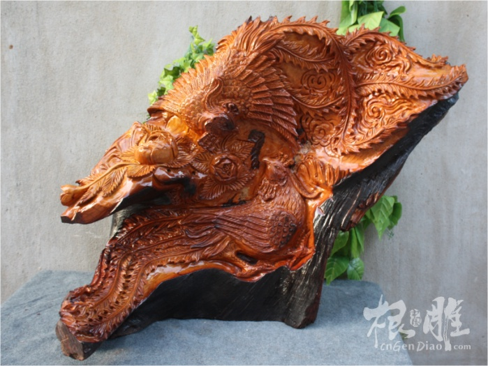 根雕图片-老挝花梨木雕凤凰牡丹